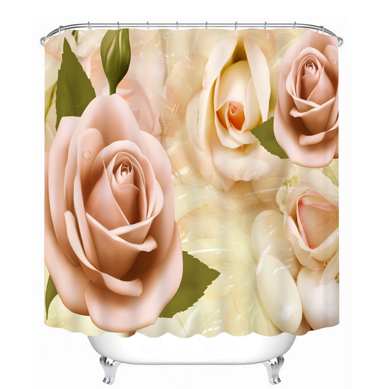 3D Retro Pink Rose Pattern Shower Curtains Bathroom Curtain Waterproof Thickened Bath Curtain Customizable