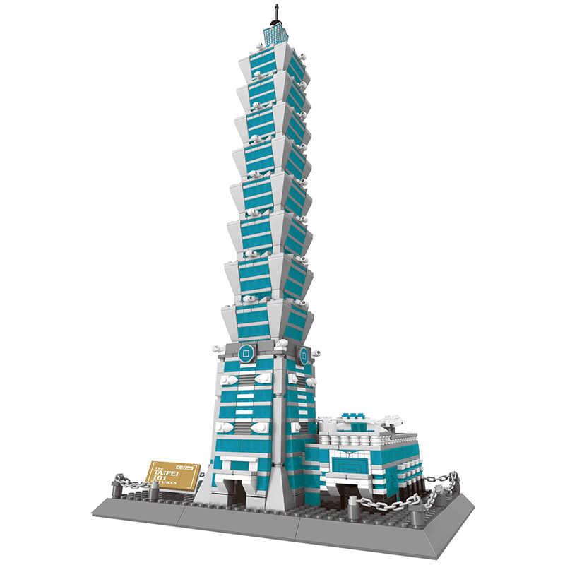 KAZI The Taipei 101 3D Model Mini Architecture Series Building Blocks Sets Classic DIY Toys For Children Learning Gifts rain fan meeting taipei