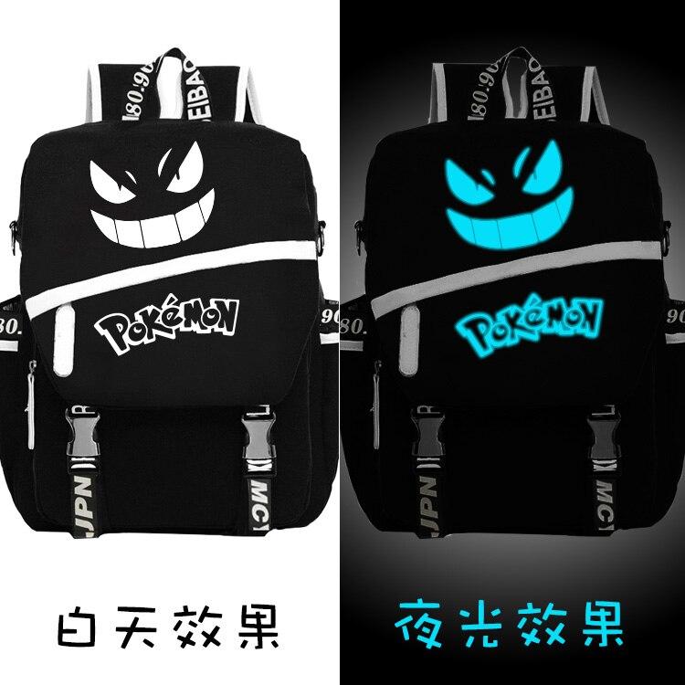Anime Fluorescence lueur dans le noir sac d'école Gengar visage sac à dos pour ordinateur portable noir retour à l'école cadeau