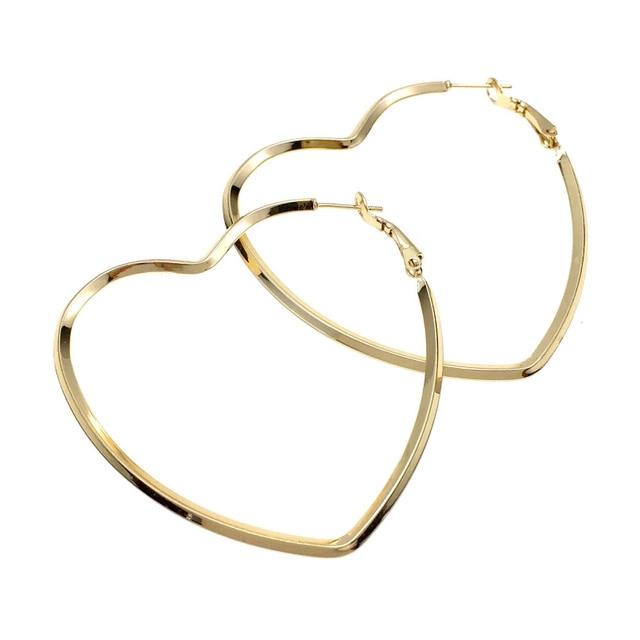 UKEN Brand Metal Big Hearts Earrings Geometric Jewelry Fashion Gold-Color  Statement Stud Earrings For Women 2018 Brincos 6b536ec86b65