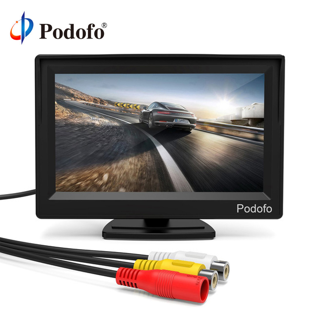 Podofo 5'' Monitor TFT LCD Color Screen 2 Video Inputs 2 Brackets For Rear View Backup Reverse Camera DVD Car Rear View Monitor