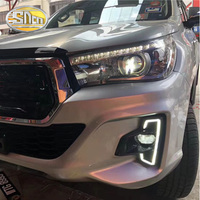 For Toyota Hilux Revo Rocco 2018 2019 DRL LED Daytime Running Lights Diglight 12V ABS Fog lamp Cover With Turn Yellow Signal