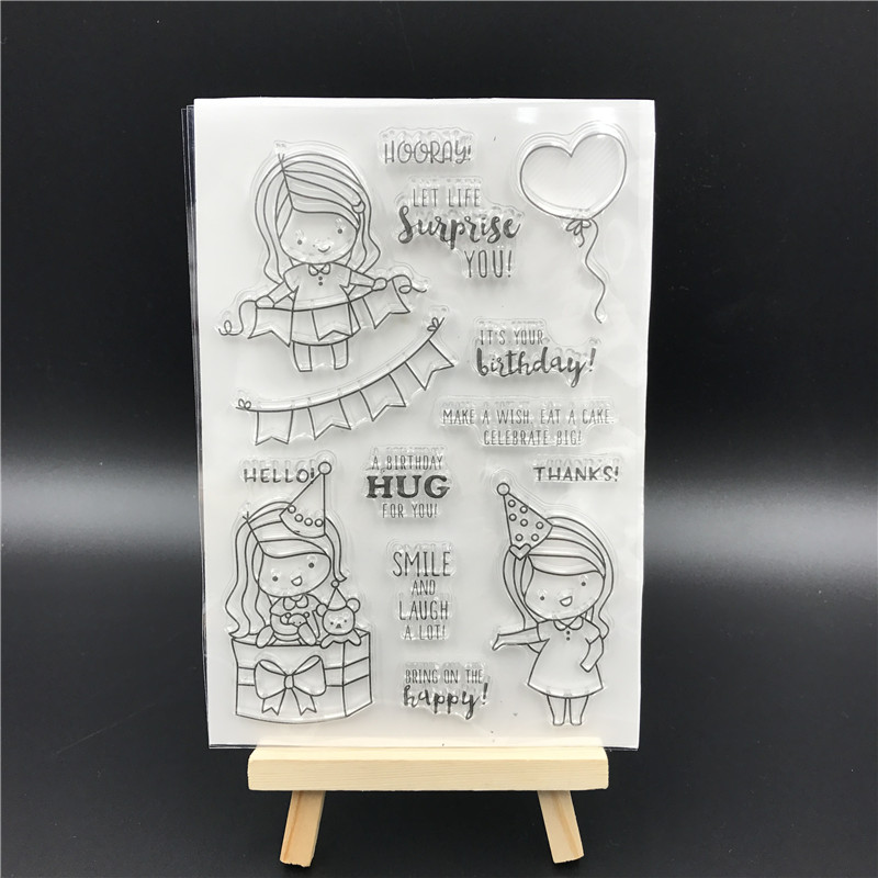 Party Girl Transparent Clear Silicone Stamp/Seal for DIY scrapbooking/photo album Decorative clear stamp sheets A520 lovely animals and ballon design transparent clear silicone stamp for diy scrapbooking photo album clear stamp cl 278