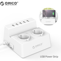 ORICO Power Strip Smart Socket Charging Desktop Charger With 2 AC Outlets And 5 USB Ports
