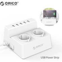 ORICO Power Strip Smart Socket Charging Desktop Charger with 2 AC Outlets and 5 USB Ports for Phones,Tablets and Desktops(ODC)(China)
