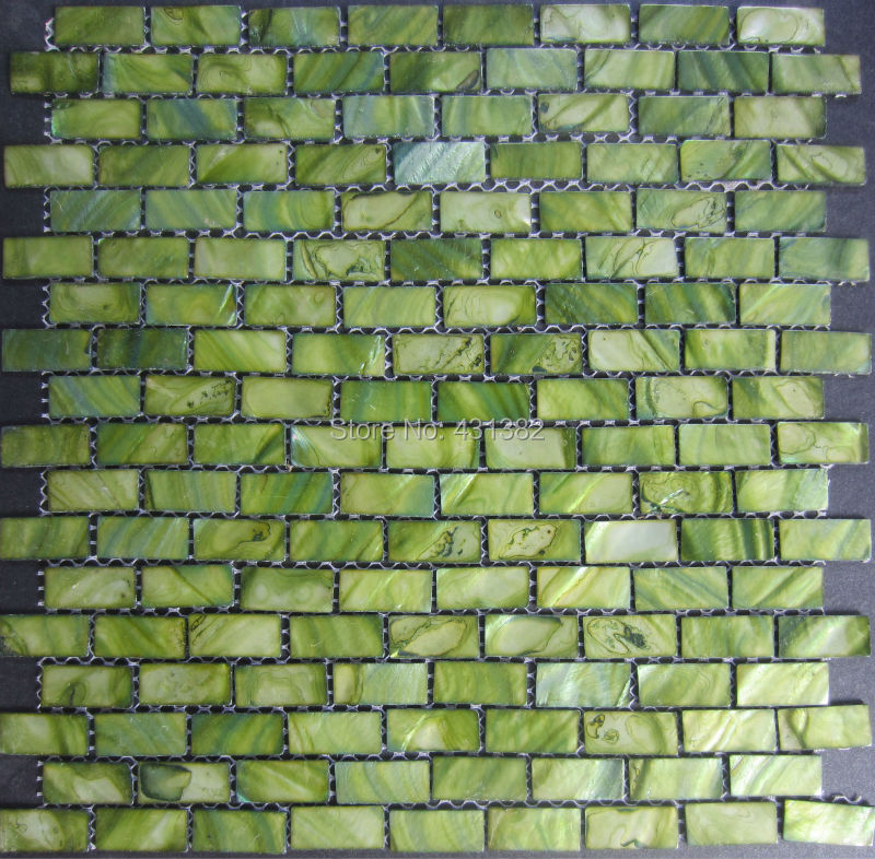 Mother Of Pearl Shell Mosaic Tiles Green Brick Tile 15 30 2