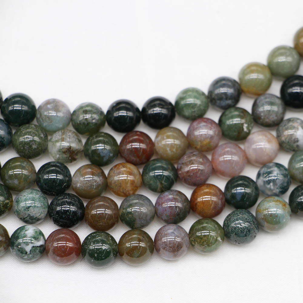 1strand/lot Natural Stone Indian Agates Round Loose Beads 4 6 8 10 12 Mm Diy Necklace Bracelet For Jewelry Making Accessories Beads