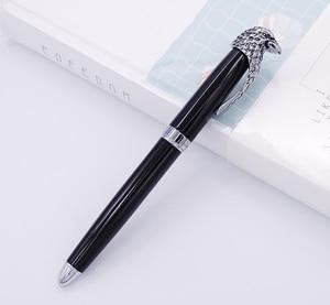 Image 5 - Fuliwen フクロウ黒万年筆 Medium Nib インクリフィルコンバータ、高貴なイーグルヘッドクリップギフトペン