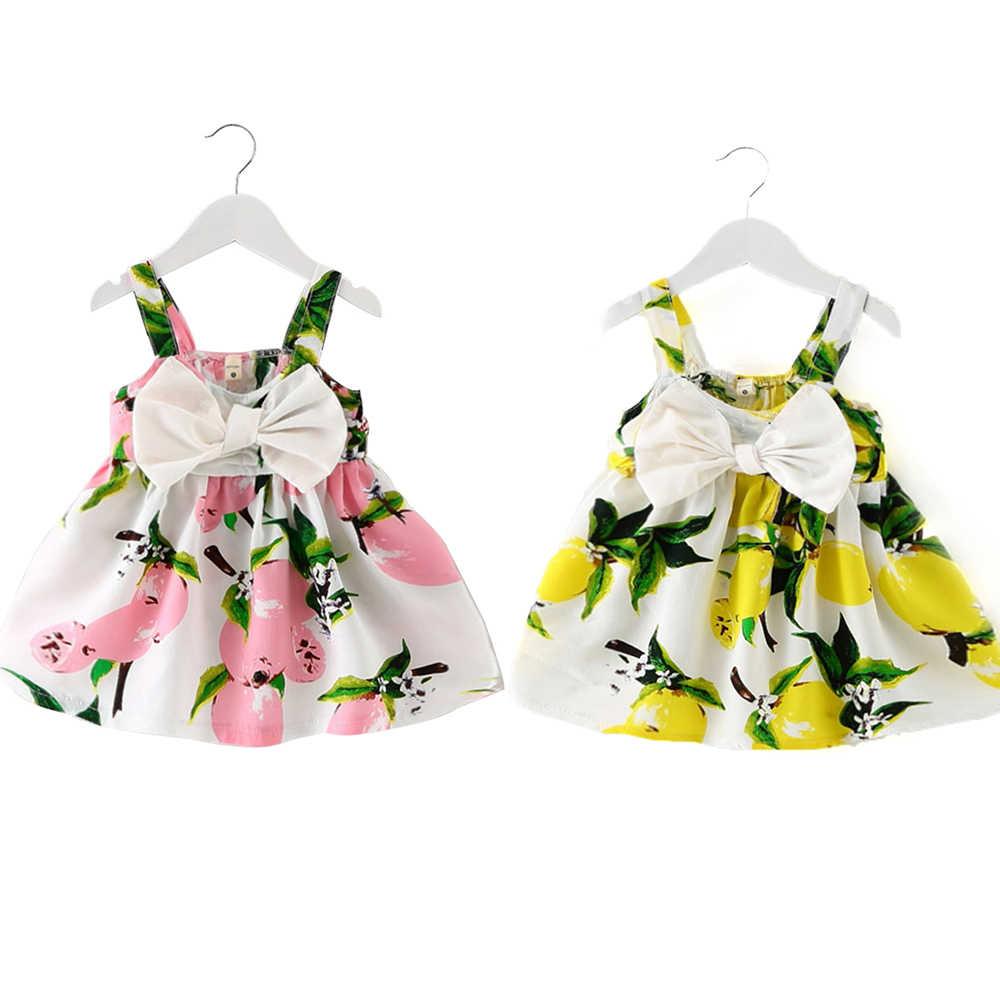 תינוק בנות בגדי 2019 שרוולים הדפסת פירות כותנה ילדי שמלות ילדים בנות שמלת תינוקת קיץ שמלות עבור בנות