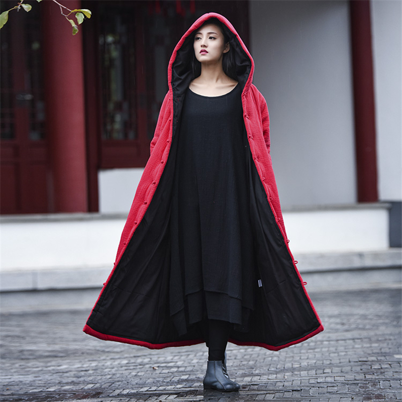 Loose Size Women Coats Cotton Linen Hooded 2017 New Winter Parkas Button Vintage Thick Warm Clothes Women Coats Brief