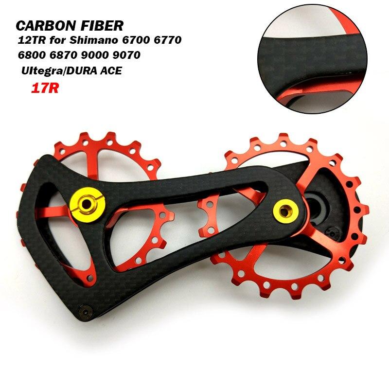Poulies de dérailleur arrière en Fiber de carbone roulements en céramique pour Shimano RD 6800 6870 9000 9070
