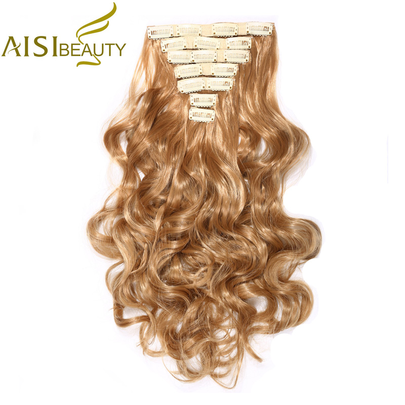AISI BEAUTY 20 7 Pieces Full Head High Temperature Fiber Curly Synthetic 16 Clips in Hair Extensions for Women