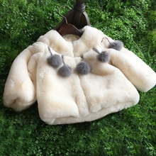 Girls Clothes Faux Fur Fleece infant Coat Pageant Warm Jacket Xmas Snowsuit 2-8Y Outerwear enfant children tassel fur ball coat
