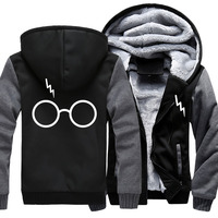 COYOUNG Brand US Size 5XL Men Harri Hoodies Print potter Sunglass Winter Zipper Fleece Coat Clothing Jacket Thicken Sweatshirts