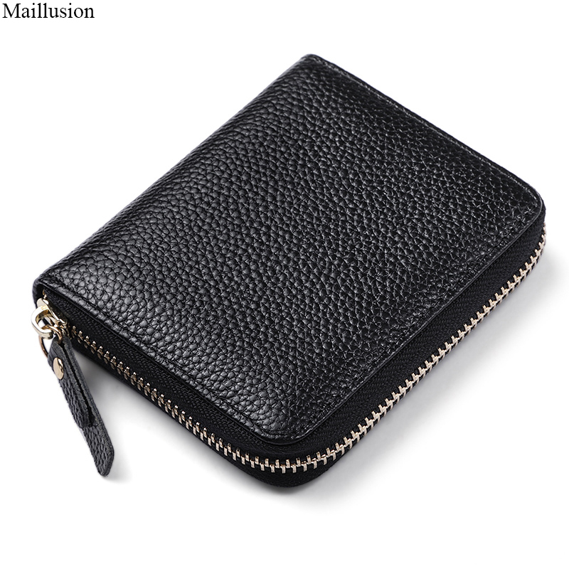 Maillusion Fashion Small Women Wallet Female Zipper Genuine Leather Money Pocket With 8 Card Holder 100% Top Layer Cowhide Purse new big brothers money cigarette card case box holder