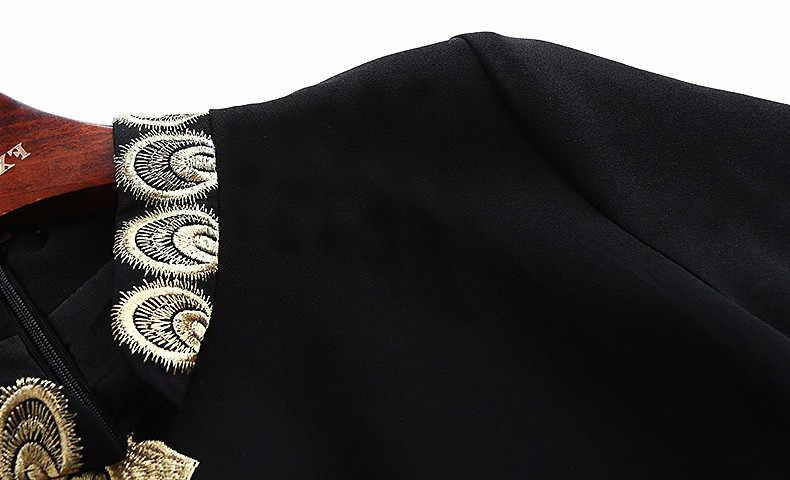 Повседневное платье с цветочной птицей и золотой вышивкой для женщин 2020, весеннее платье размера плюс, офисное платье со стоячим воротником, черное облегающее платье