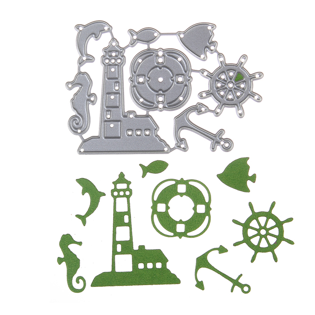 Embossing Steel Dolphin Lighthouse Cutting Dies Stencils DIY ...