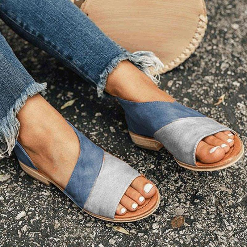 Large size single shoes female summer new side empty fish mouth color matching sandals women open toe slip on footwearLarge size single shoes female summer new side empty fish mouth color matching sandals women open toe slip on footwear