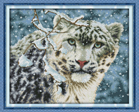 NEW Snow Leopard Cotton Animals DMC Cross Stitch Kit 14ct White 11ct Printed Embroidery DIY Handmade