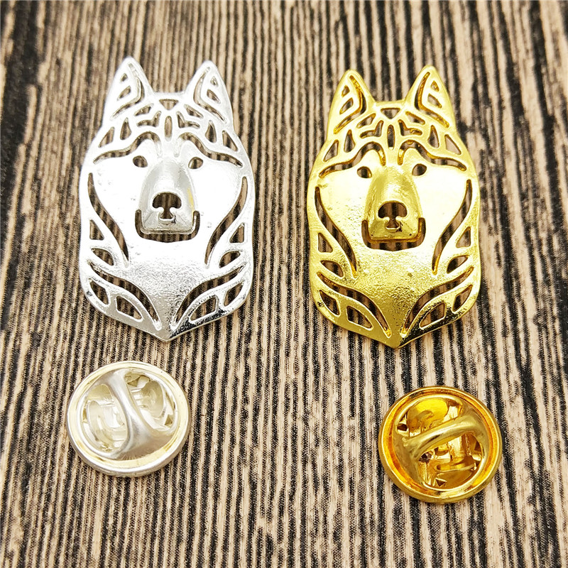 LPHZQH fashion cartoon Siberian Husky Broches and pins Collar Pin animal Jewelery Clothing Accessories Men's Gift