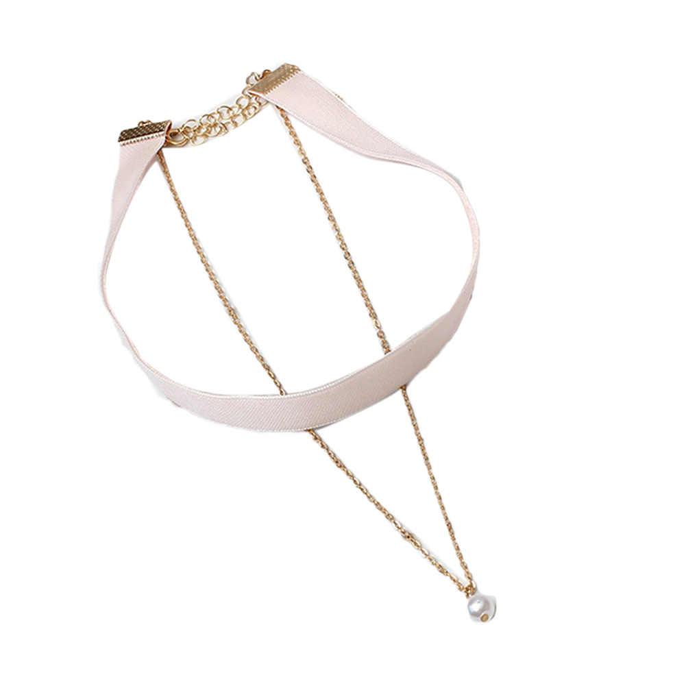 Mujer terciopelo imitación perlas encanto colgante gargantilla collar gótico hecho a mano joyería Retro alta calidad 2017 Dropshipping