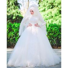 Floor Length Long Sleeve Lace Hijab Arabic Turkish Muslim Wedding Gown Bridal Dress 2017 Custom Made A Line Hochzeitskleid