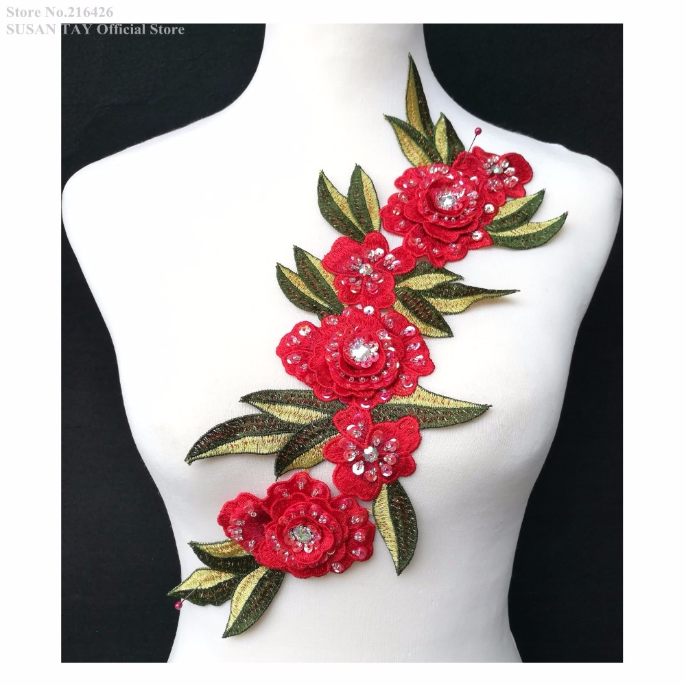 Red strawberry fruit sequin embroidered lace applique motif patch costume