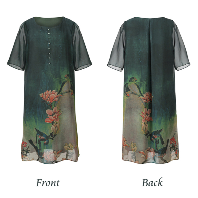 New Style Spring And Summer Quality Dress Female Plus Size Loose Print Full Dress Soft Material five Quarter Sleeve Dress M-4XL 5