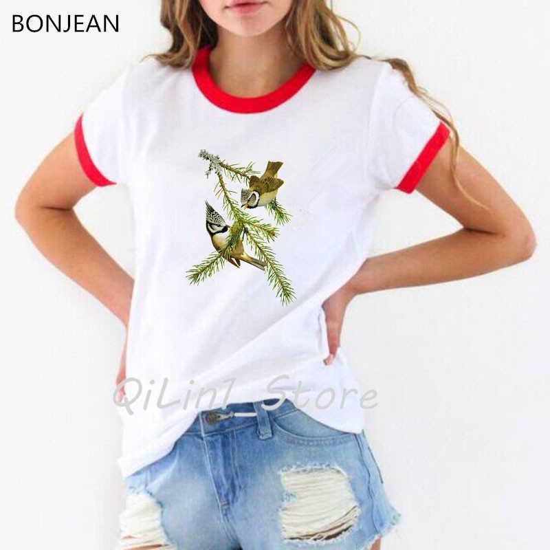 Grote Tit Vogels Gedrukte T-shirt Vrouwen Kleding 2019 Vogue Grappige T-shirt Vrouwelijke Harajuku Shirt Wit Tumblr Tops Tee Shirt femme