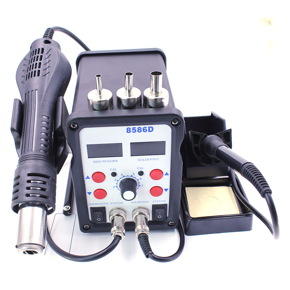 8586 2in1 Smd Rework Solder Station Soldering Iron Hot Air Gun Esd 3 Wiring A 220 Plug For Welder And Dryer As Well New Het 8586d 110v 220v