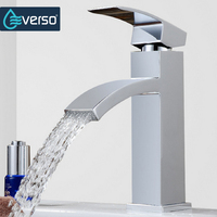 Retail Deck Mount Waterfall Bathroom Faucet Vanity Vessel Sinks Mixer Tap Modern Simple Cold And Hot
