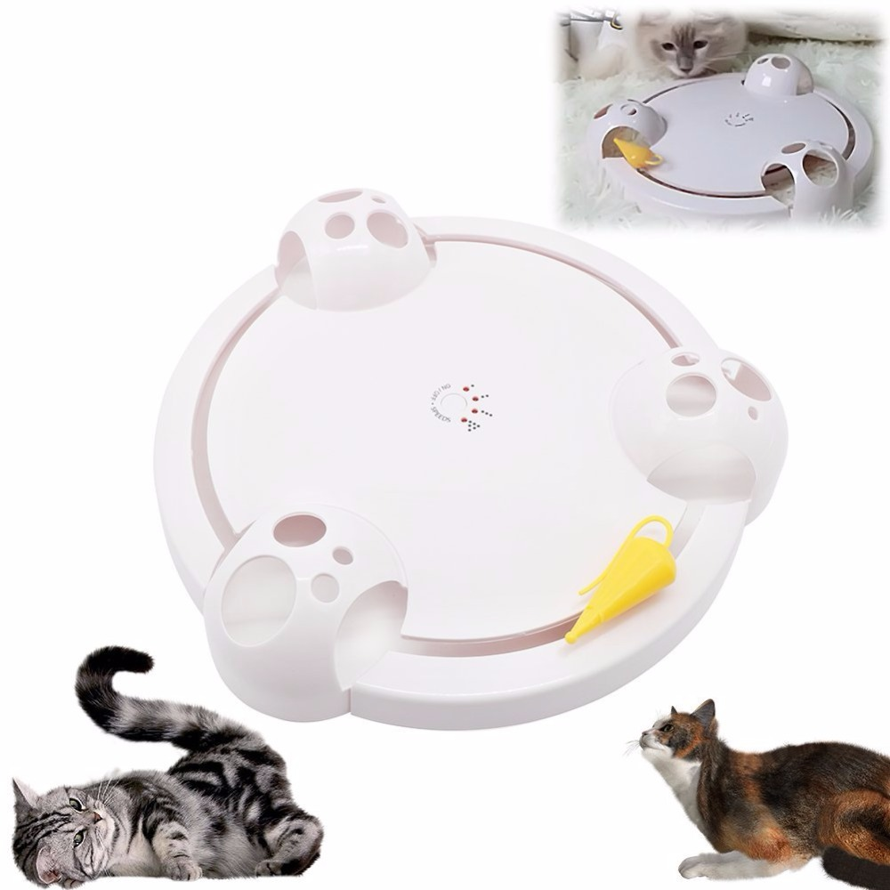 Pet Toy Cat Scratch Mouse Game Disc Cat Toys Joy Disc Mouse Turntable Cat Scratch Board Electric Amusement Plate Educational Cat