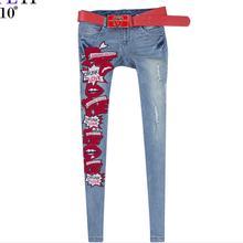 Мода марка Осень новый женский Средний талия промывки водой отбеленные разорвал джинсы Корейской моды карандаш джинсы брюки w1884