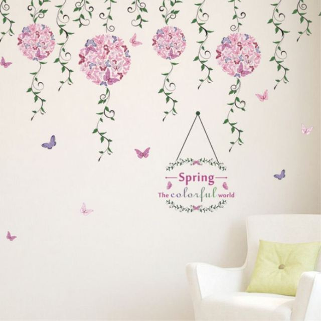 Wall Paper Green Vine Flower Removable Vinyl Decals Wall Stickers ...