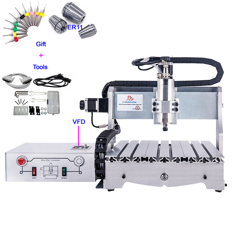 Mini CNC Wood Router 3040 Engraving Machine 800W VFD Ball Screw Metal Cutting Machine