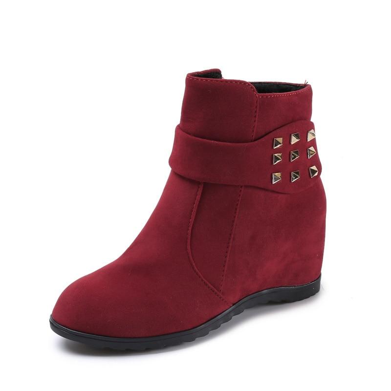 De Botines Beautyfeet Zapatos Las Flock Del Tacones Invierno Remache Moda Beige Plataforma Otoño Casuales Para Tinto negro Botas 2018 Tobillo vino Mujeres Mujer 5PTFFn