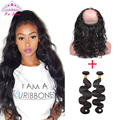 7A Brazilian Body Wave 360 Lace Frontal With Bundles 3PCS Brazilian Virgin Hair 360 Lace Frontal Pre Plucked Boday Wave Soft