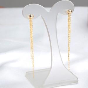 Image 3 - Classic Minimalist Ball 18K Gold bead Tassel Stud Earring for women girls Diameter 3 4 5mm optional real Au 750 stud earring