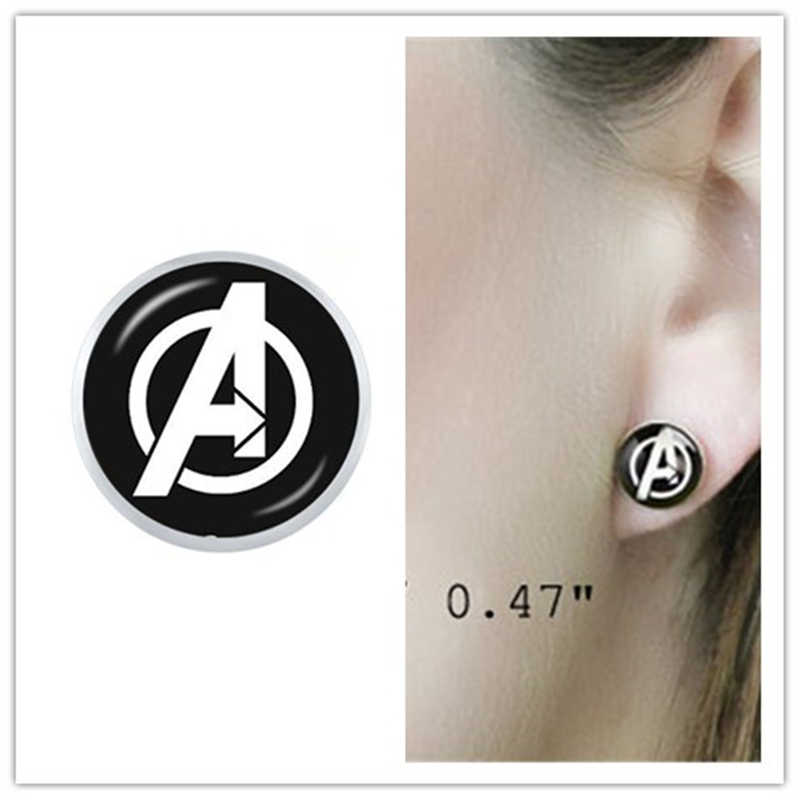 Metal Marvel Avengers Captain America Shield Earring Jewelry Iron Man Glass Stud Earrings Gift
