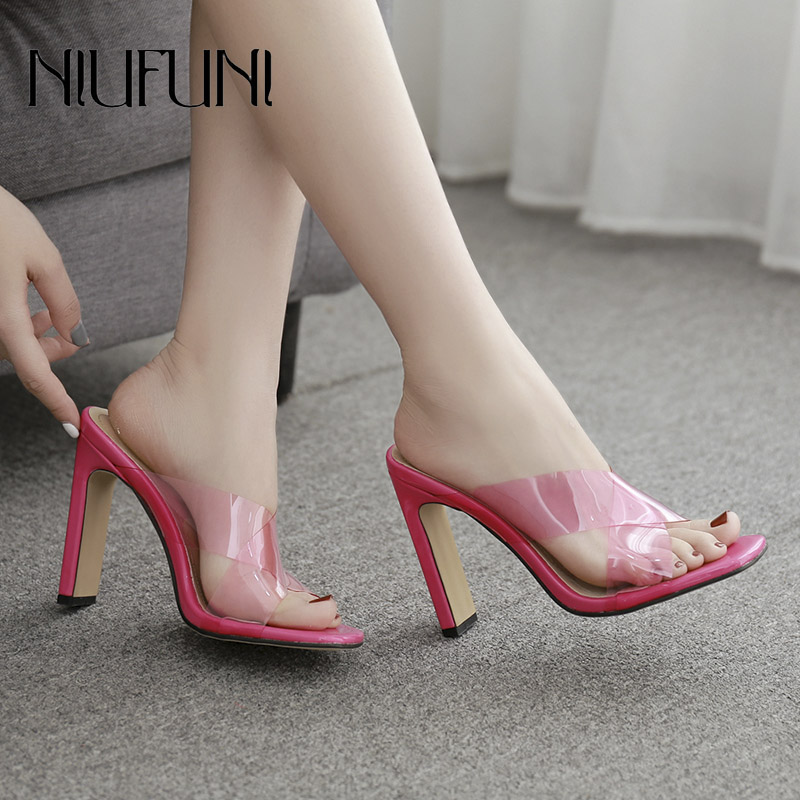 Fashion Transparent Fluorescent Wear Womens Slipper 2019 Summer New With High Heels Muller Sandals Women Casual Ladies Shoes