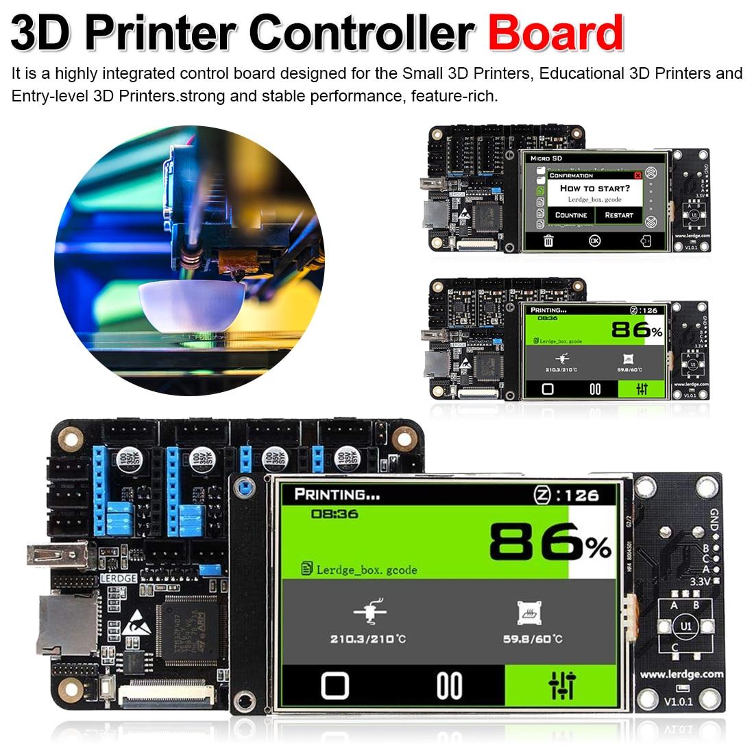 Carte mère d'imprimante LERDGE-X carte contrôleur d'imprimante 3D avec bras contrôle de carte mère 32 bits avec écran tactile 3.5