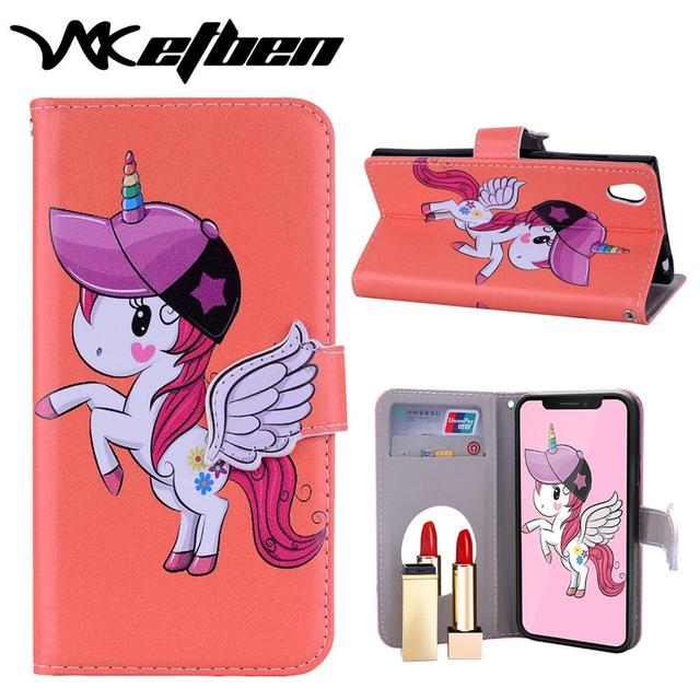 W7ETBEN 新女神ユニコーン化粧鏡カードスロット電話ケース samsung S7 S7Edge S8 S8plus S9 S9plus