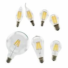 LAN MU LED Bulb 220V LED Lamp E14 E27 LED Filament Light 2W 4W 6W 8W Glass Ball Bombillas LED Edison COB Bulb