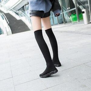 Image 5 - أحذية خريفي للنساء أحذية طويلة مطاطية أحذية قماشية قابلة للانزلاق فوق الركبة أحذية حريمي بكعب أحذية للنساء 2020 بوتاس دي موجر