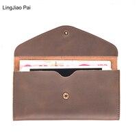 LingJiao Pai Unisex Mężczyźni Podróże Pani Posiadacz Karty Kiesy Długi Sprzęgła Portfel Z Prawdziwej Skóry Z 5.5 Cali Kieszeń na Telefon