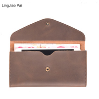LingJiao Pai Unisex Men Wallet Genuine Leather Travel Lady Purse Card Holder Long Clutch With 5.5 Inches Phone Pocket