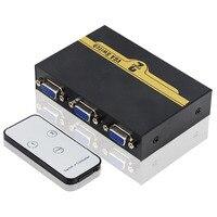2x Input 1x Output Durable Round Press Button 500MHz IR Controller Two Way VGA Switch Splitter