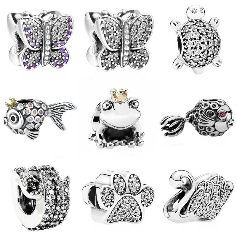 Sparkling Butterfly Angel Fish Sea Turtle Paw Prints Frog Prince Charm Fit Pandora Bracelet 925 Sterling Silver Charm Jewelry dazzle butterfly prints diamond paintings