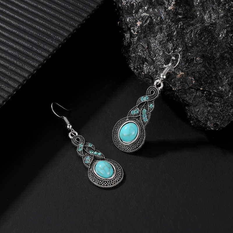 Brincos de gota vintage para feminino étnico boêmio azul cristal verde turquesa pedra balançar brincos para mulher