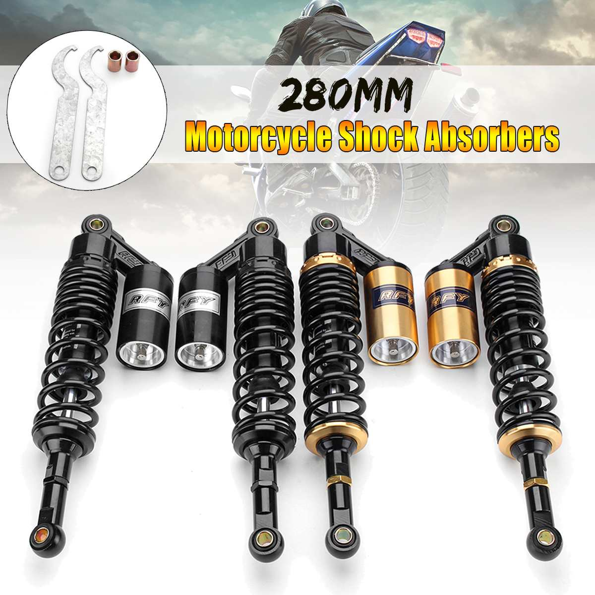 Pair 11 280mm Aluminum+Iron Rear Air for Shock Absorbers Suspension For ATV Motorcycle Dirt Bike